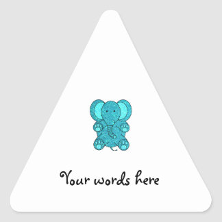 Turquoise glitter elephant triangle stickers