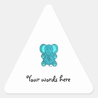 Turquoise glitter elephant triangle sticker