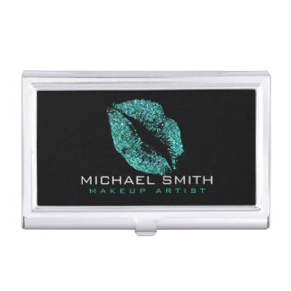 Turquoise Glitter Lips Case For Business Cards