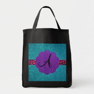 Turquoise glitter monogram bag