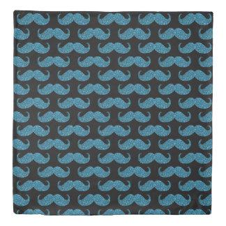 Turquoise Glitter Mustache Duvet Cover