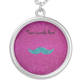 Turquoise glitter mustache round pendant necklace