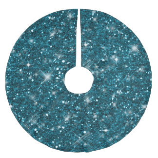 Turquoise Glitter Pattern ID144 Brushed Polyester Tree Skirt