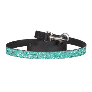Turquoise Glitter Pattern Look-like Pet Leash