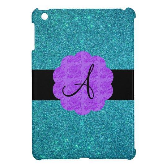 Turquoise glitter purple roses monogram case for the iPad mini
