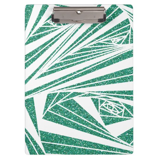 Turquoise Glitter Spiral Pattern on Clipboard