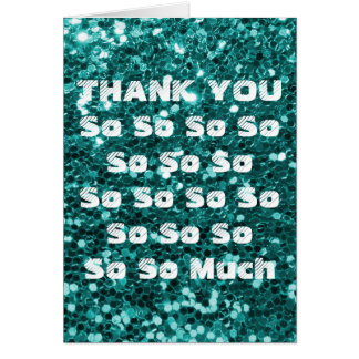 Turquoise Glitter Thank You Card