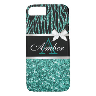 Turquoise Glitter Zebra Name iPhone 7 Case