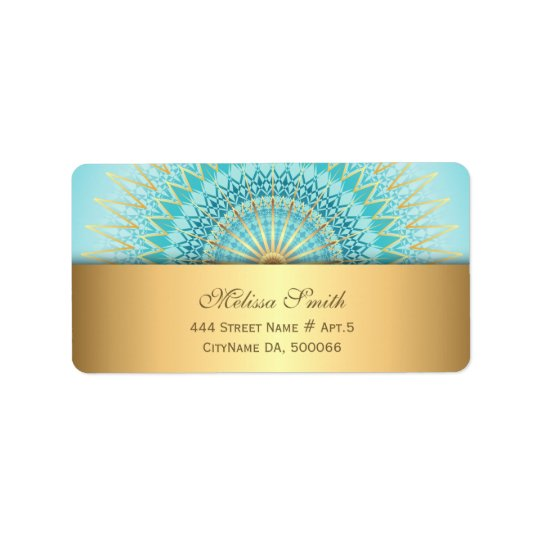 Turquoise Gold Boho Mandala