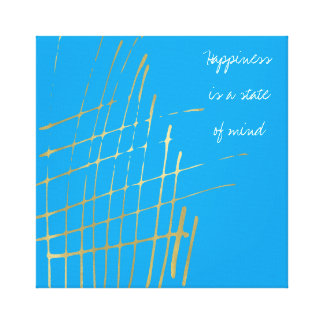 Turquoise Gold Criss Cross Happiness Quote Canvas Print