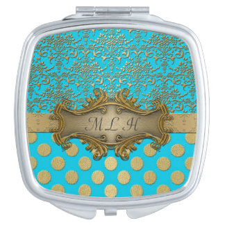 Turquoise Gold Damask Polka Dots Pattern Mirror For Makeup