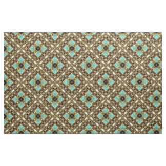 Turquoise & Gold Diagonal Fabric