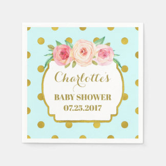 Turquoise Gold Dots Blush Floral Baby Shower Paper Napkin