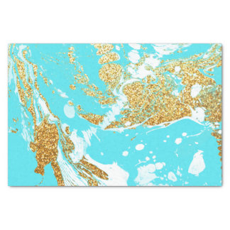 Turquoise gold faux glitter modern marble pattern tissue paper
