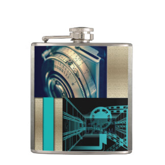 Turquoise & Gold Film & Camera Hip Flask