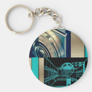 Turquoise & Gold Film & Camera Keychain