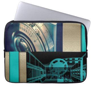 Turquoise & Gold Film & Camera Laptop Sleeve