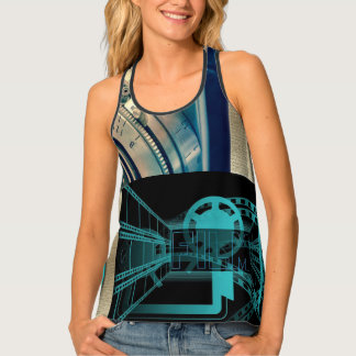 Turquoise & Gold Film & Camera Tank Top