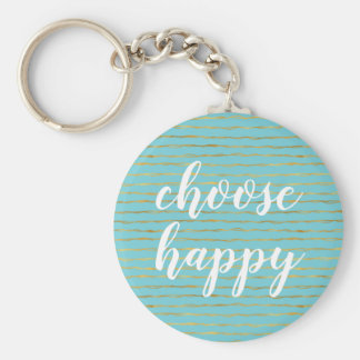 Turquoise Gold Glam Stripes Happy Keychain