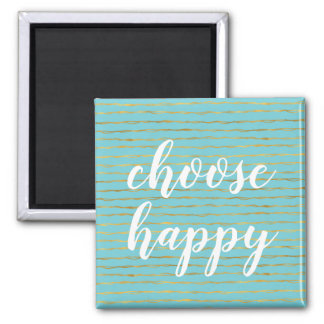 Turquoise Gold Glam Stripes Happy Magnet