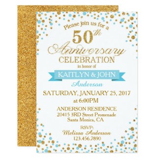 Turquoise Gold Glitter Dots 50th Anniversary Card
