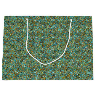 Turquoise-Gold-Glitter-GIFT BAG L