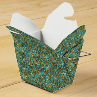 Turquoise Gold Glitter-PARTY FAVOR BOXES,take out Party Favor Boxes
