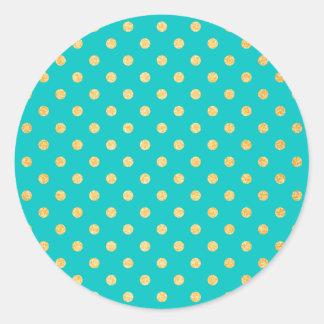 Turquoise Gold Glitter Polka Dots Pattern Classic Round Sticker