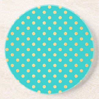 Turquoise Gold Glitter Polka Dots Pattern Coaster