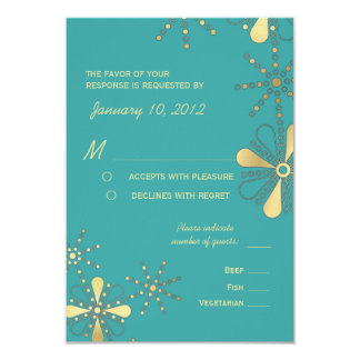 Turquoise & Gold Indian Inspired RSVP Meal Options 3.5x5 Paper Invitation Card