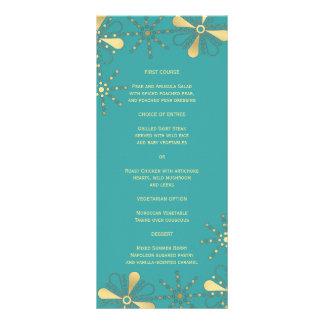 Turquoise & Gold Indian Inspired Slim Dinner Menu Custom Rack Card