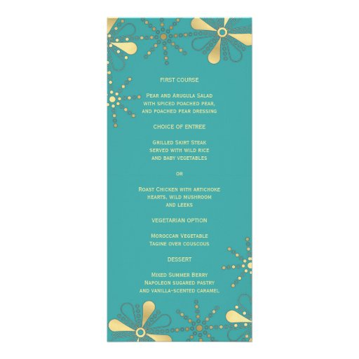 Turquoise & Gold Indian Inspired Slim Dinner Menu Full Color Rack Card