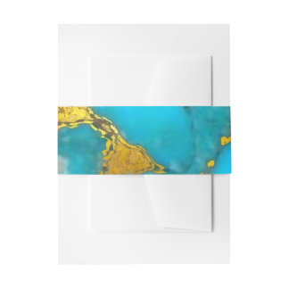 Turquoise Gold Marble Invitation Belly Band