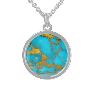 Turquoise Gold Marble Sterling Silver Necklace