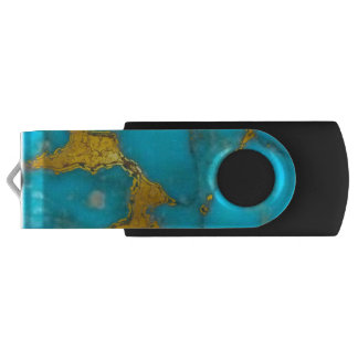 Turquoise Gold Marble USB Flash Drive