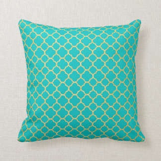 Turquoise Gold Quatrefoil Glitter Pattern Decor Throw Pillow