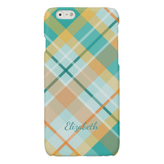 turquoise gold teal peach colorful summer plaid