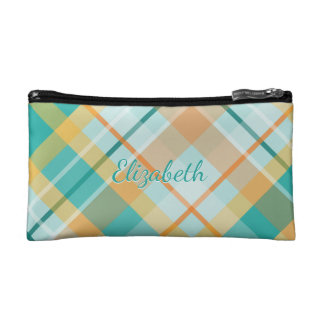 turquoise gold teal peach colorful summer plaid makeup bag