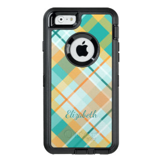 turquoise gold teal peach summertime plaid OtterBox iPhone 6/6s case