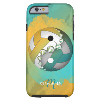 turquoise gold yinyang volleyball her name tough iPhone 6 case