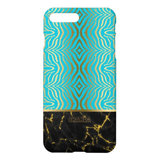 Turquoise & Gold Zebra Pattern Black Marble Accent iPhone 7 Plus Case