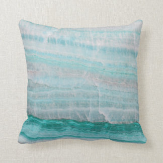 Turquoise Granite Stone Layered Wave Print Throw Pillow