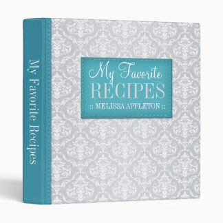 "Turquoise & Gray Damask 1"" Recipe Binder"