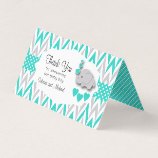 Turquoise Gray Elephant Baby Shower |  Bag Toppers Business Card
