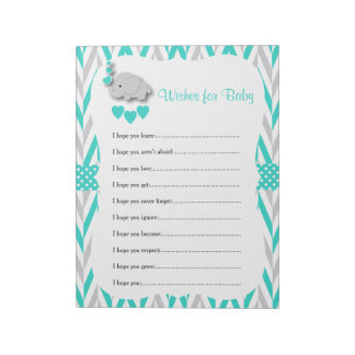 Turquoise & Gray Elephant Baby Shower - Wishes Notepad