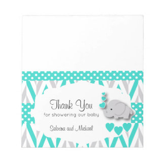 Turquoise & Gray Elephant  Shower  | Candy Toppers Notepad