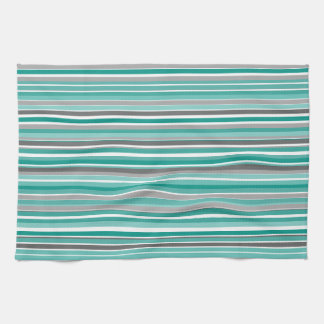 Turquoise Gray Shades Stripe Pattern Kitchen Towel