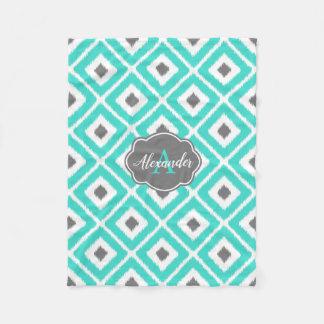 Turquoise, Gray, White Ikat Diamond Pattern Fleece Blanket