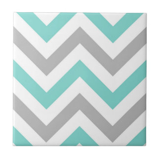 Turquoise, Gray, Wht Large Chevron ZigZag Pattern Tile