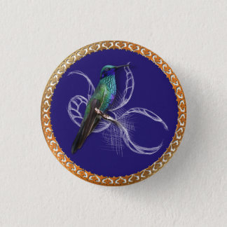 Turquoise green and blue with purple hummingbird 1 inch round button